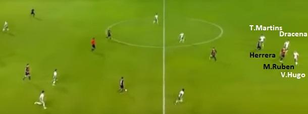 Flagrante dos três zagueiros do Palmeiras pegando a dupla de ataque do Rosário Central. Repare na marcação do time brasileiro correndo atrás dos argentinos (Reprodução Sportv).