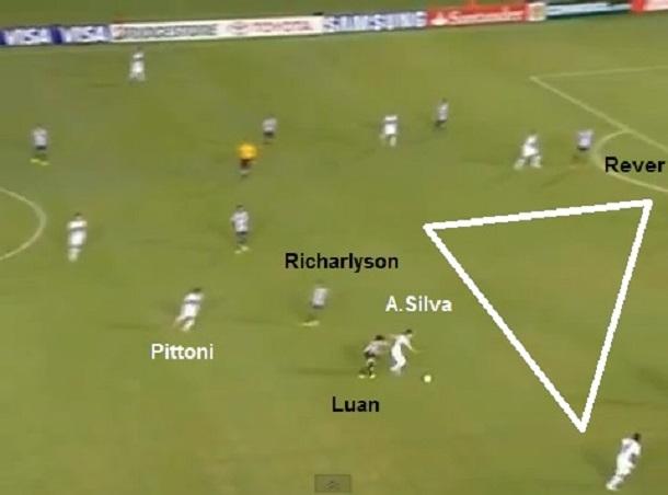 Primeiro gol do Olimpia sobre o Atlético Mineiro de Cuca em 2013: Alejandro Silva limpa Luan e abre um clarão na defesa que vai estourar em Rever, o zagueiro da sobra (reprodução Sportv).