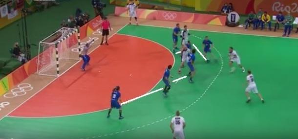 Seleção brasileira de handebol masculino em momento defensivo na vitória sobre a Alemanha: barreira de seis para evitar ou dificultar a finalização (reprodução Sportv).