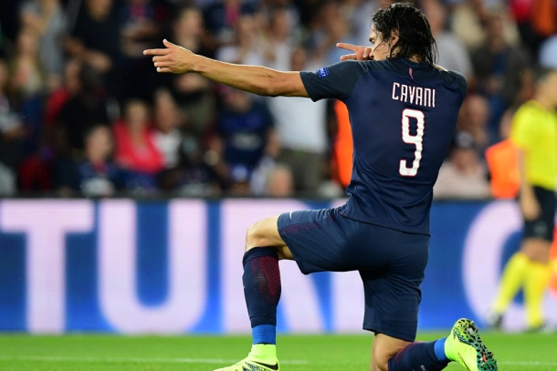 Paris Saint-Germain's Uruguayan forward Edinson Cavani celebrates after scoring during the UEFA Champions League Group A football match between Paris-Saint-Germain vs Arsenal FC, on September 13, 2016 at the Parc des Princes stadium in Paris.  AFP PHOTO / FRANCK FIFE / AFP / FRANCK FIFE        (Photo credit should read FRANCK FIFE/AFP/Getty Images)