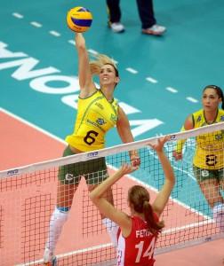 Brazil's Thaisa Menezes spikes