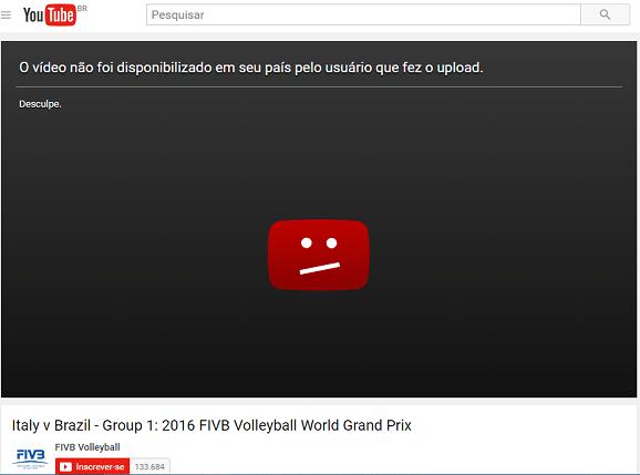 Usuário que tenta ver os jogos é surpreendido com mensagem de que o vídeo não foi disponibilizado (Foto: Reprodução YouTube)