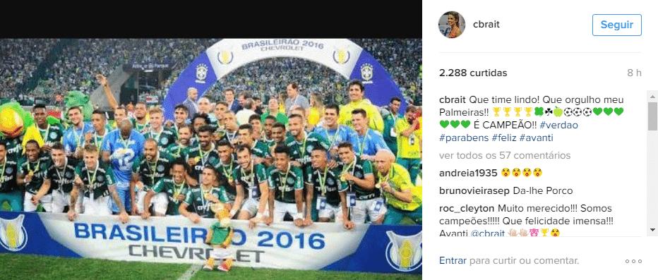 Líbero do Vôlei Nestlé usou o Instagram para homenagear o Palmeiras (Foto: Reprodução)