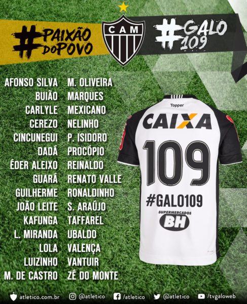 101fa60be2 Atlético-MG vestirá camisas com nomes de ídolos históricos em jogo do  domingo