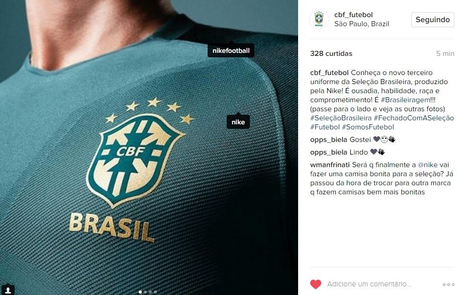 6f15ee47e0 Seleção ganha novo uniforme verde. Preço chega a R  450 - 20 03 2028 ...