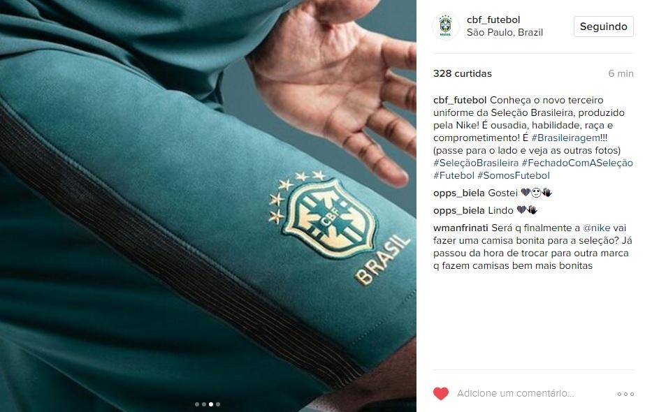 3434edcf4d Seleção ganha novo uniforme verde. Preço chega a R  450 - 20 03 2028 ...