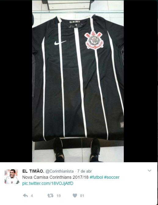 8e52e25782 O Corinthians homenageará a conquista do Campeonato Paulista de 1977 em seu  uniforme reserva. O novo modelo vazou na internet e conta com a inscrição