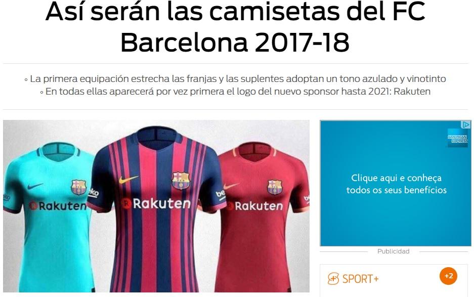 Jornal mostra novas camisas do Barcelona com mudanças - UOL Esporte c015b974931
