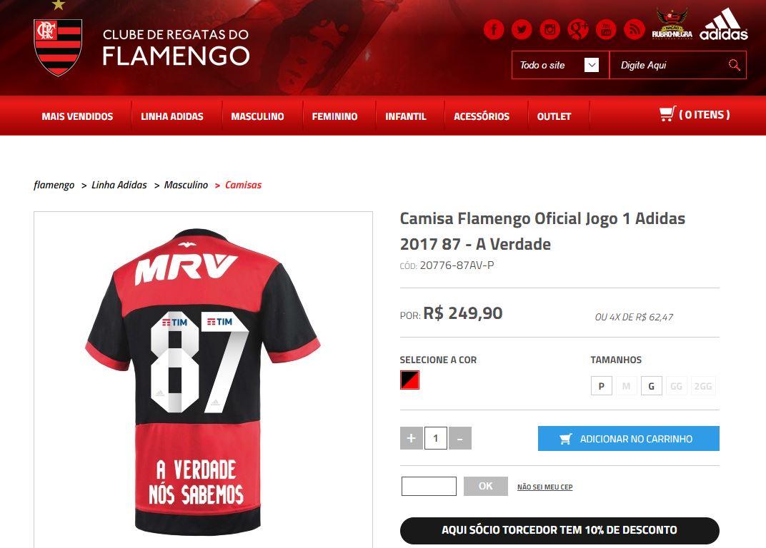 """Loja do Fla vende camisa em resposta ao Sport sobre 87  """"A verdade nós  sabemos"""" 921fda9087b6e"""