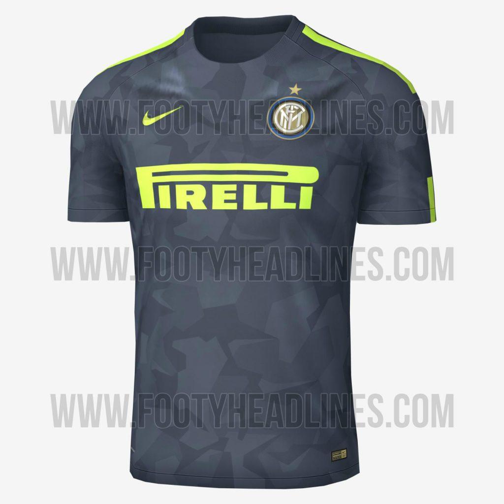 A terceira camisa da Internazionale de Milão na temporada 2017 18 terá  camuflado e detalhes em verde musgo. As fotografias do uniforme vazaram no  site