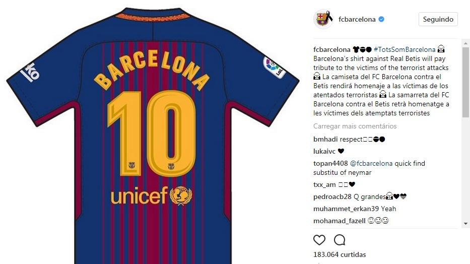 Barcelona terá camisa especial em homenagem às vítimas de atentado  terrorista 5cc8ff9d74b44