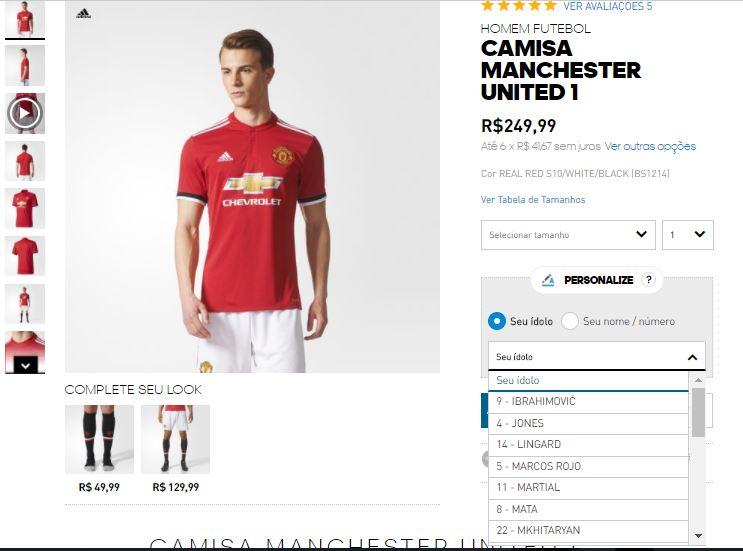 47e85ddf64 Adidas coloca a possibilidade de personalizar a camisa do United com nome  de Ibra (Reprodução)