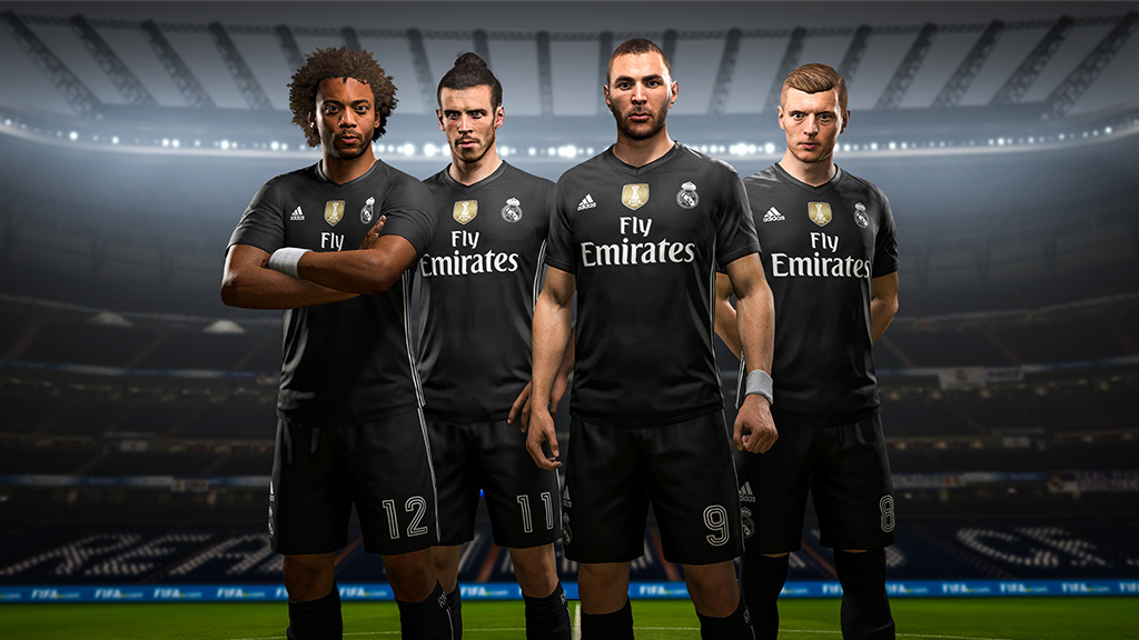 Quarto uniforme do Real Madrid exclusivo para o Fifa 18 (Foto  Divulgação) 1e9c81a72dce7