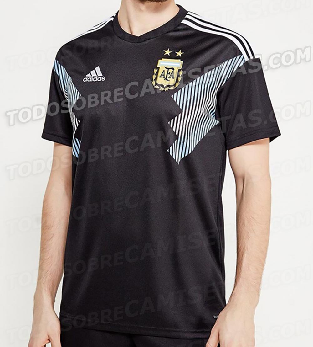 ba71a323a6 O site Todo sobre camisetas divulgou uma imagem da suposta camisa reserva  da Argentina para a Copa do Mundo da Rússia. O uniforme é preto com  detalhes na ...