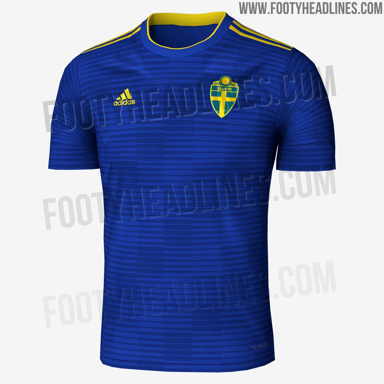 Uniforme reserva da Suécia para a Copa de 2018 (Reprodução Footy Headlines) 0079600d96ccf