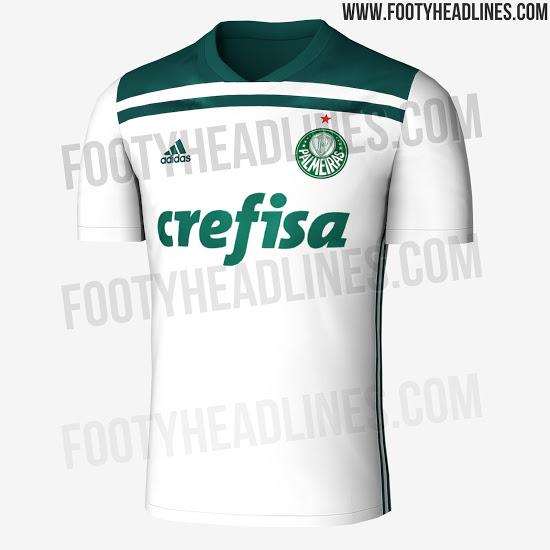65ae2981d4118 O site Footy Headlines vazou imagens da nova camisa 2 do Palmeiras para o  restante desta temporada de 2018. O novo segundo uniforme tem a cor branca  como ...