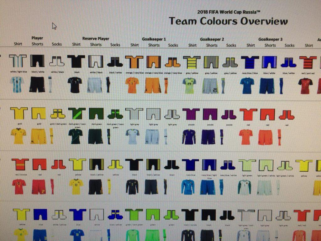 Seleções da Copa terão até quatro combinações de uniformes para usar ... eef4d03751874