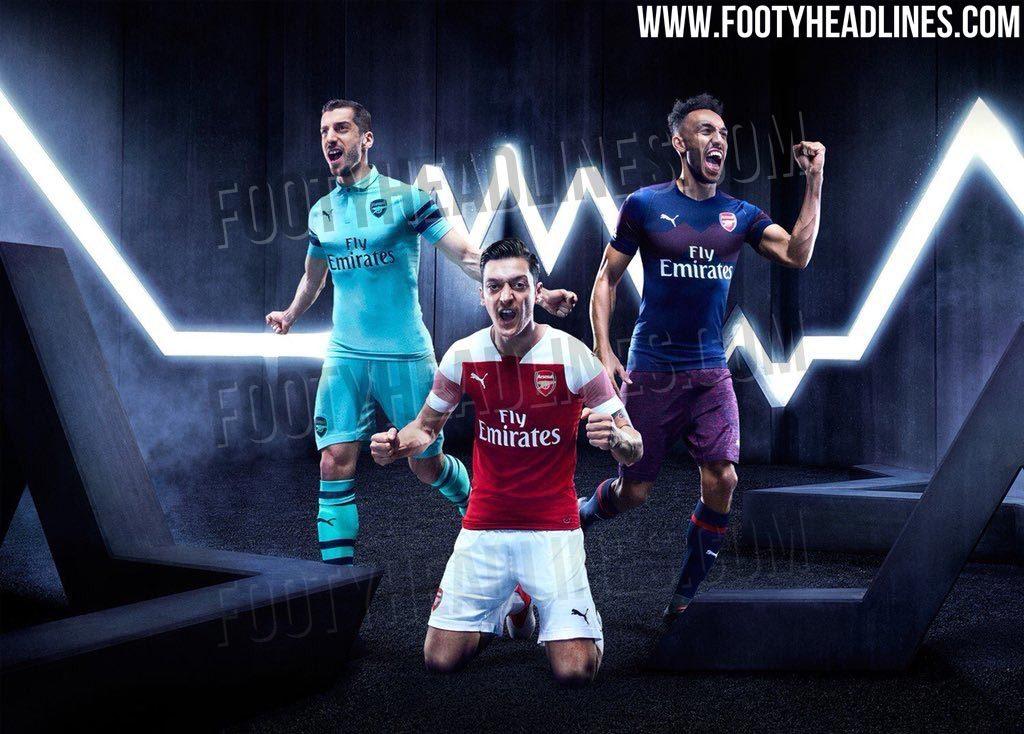 a098d798a Supostos uniformes do Arsenal para 2018 2019 (Reprodução Footy Headlines)