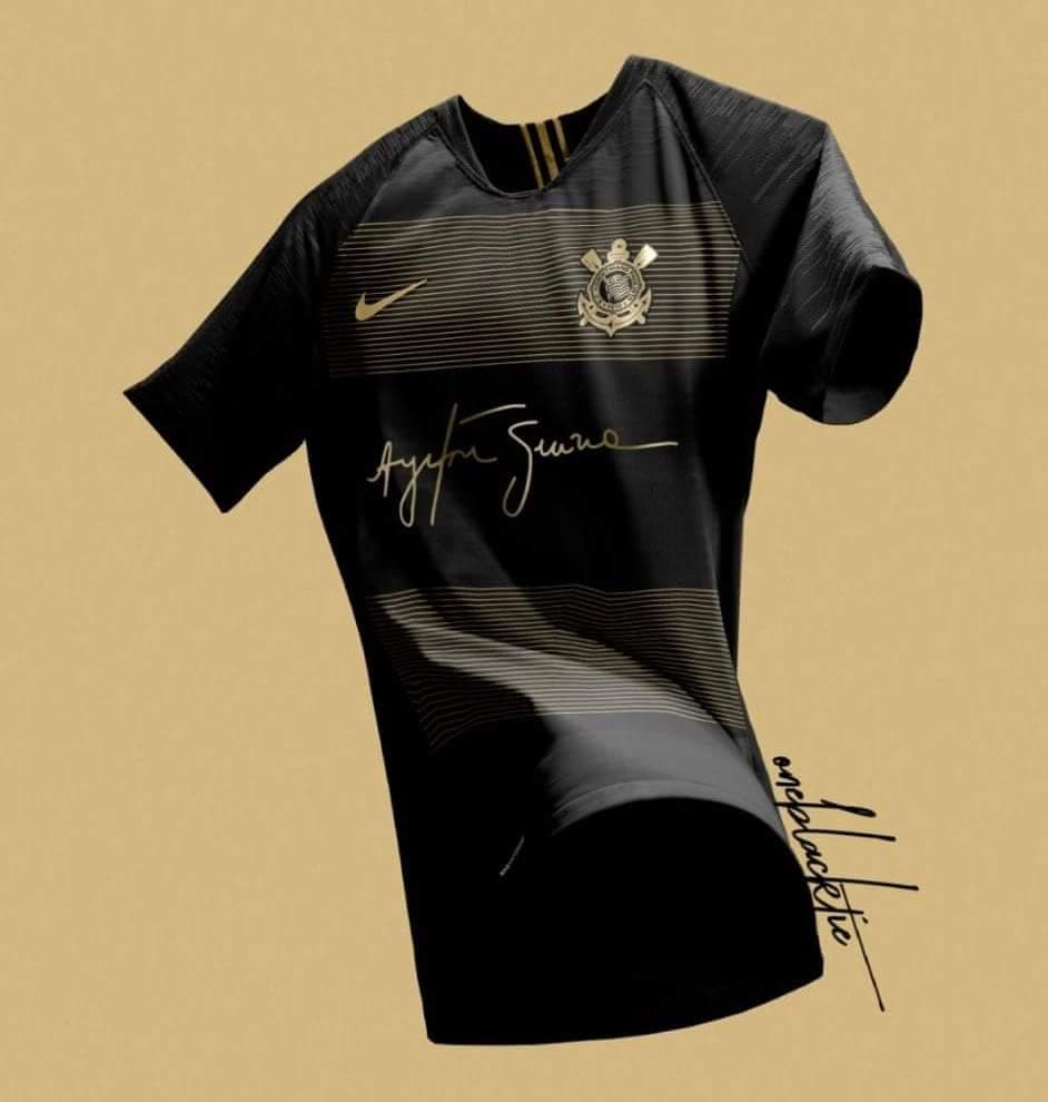 45e54af851 Réplica de nova camisa do Corinthians que circula na internet (Foto   Reprodução). O Corinthians tem ...