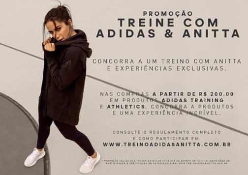 Anitta e Adidas: marca alemã levará clientes para treinar com Anitta