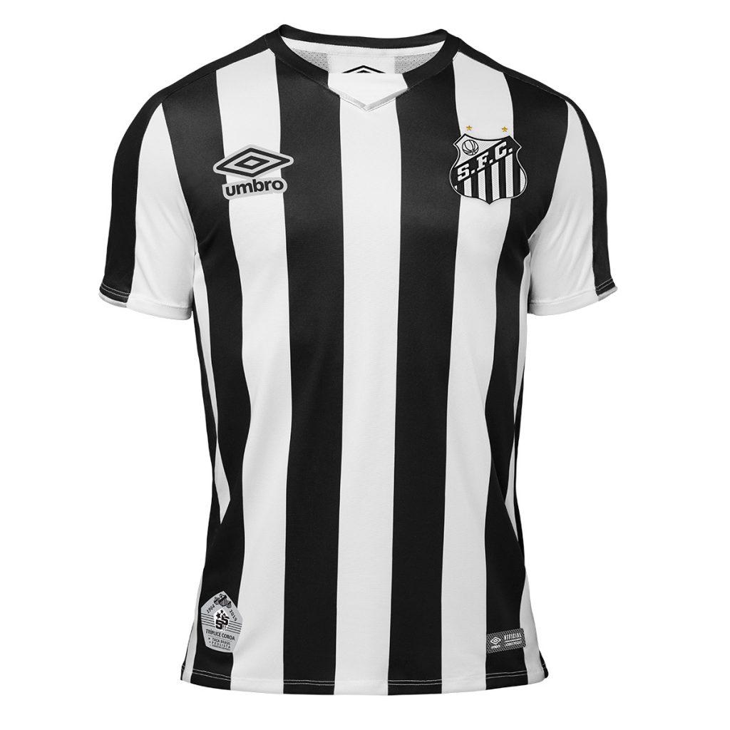 e5d6a6de83046 Santos apresenta nova camisa reserva e faz homenagem a títulos de ...