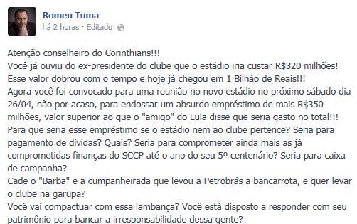 Reprodução de página de Romeu Tuma Júnior no Facebook