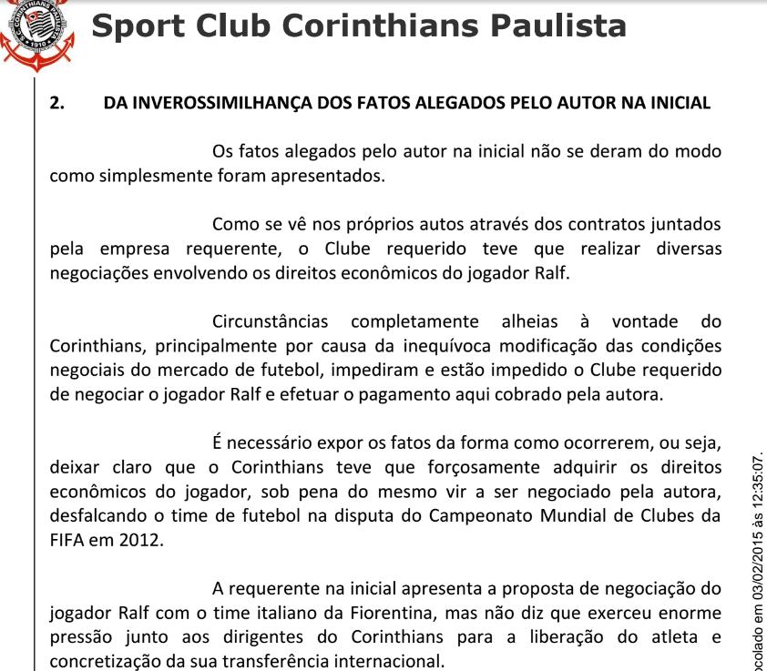 Pelo que diz a defesa, o Corinthians ainda tenta vender Ralf para pagar dívida