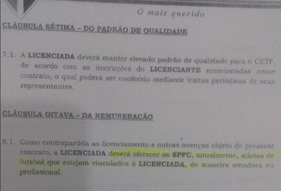 Contrato fora do padrão com a Brasília Futebol Academia e que prevê oferta de jogadores, não pagamento em dinheiro