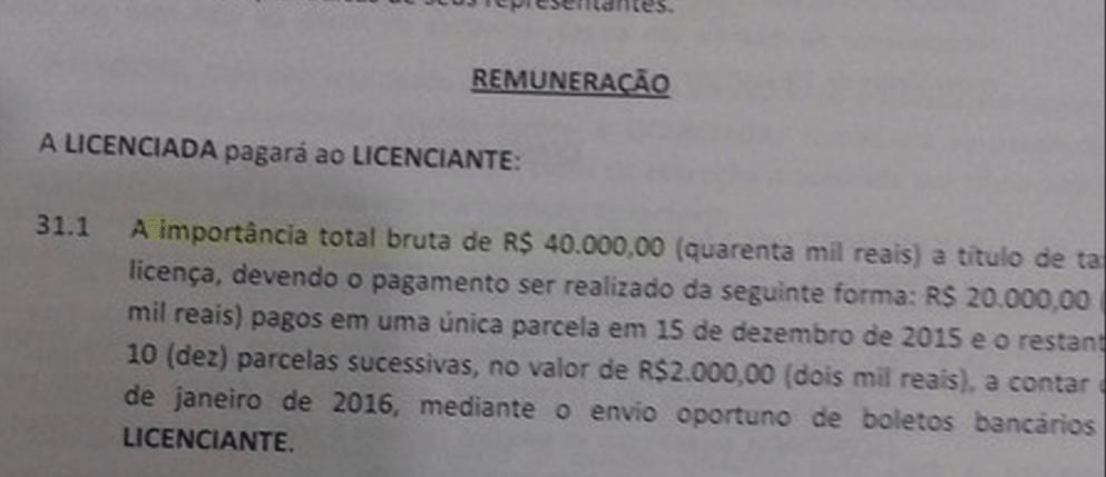Contrato padrão do São Paulo com escolinhas que prevê pagamento em dinheiro
