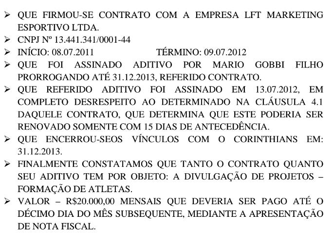 Acima, trecho da ação em que o sócio relata informações que recebeu do Corinthians sobre o filho de Lula
