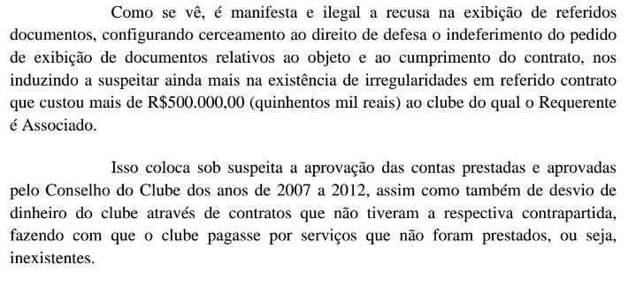 Trecho da ação que fala das suspeitas sobre a contratação de Luis Claudio