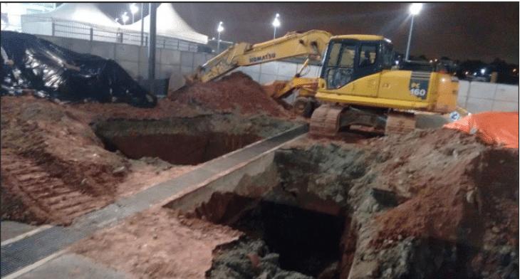 Em janeiro, essa era situação de buraco perto da entrada do setor norte. O reparo foi concluído. Foto: Diego Canha