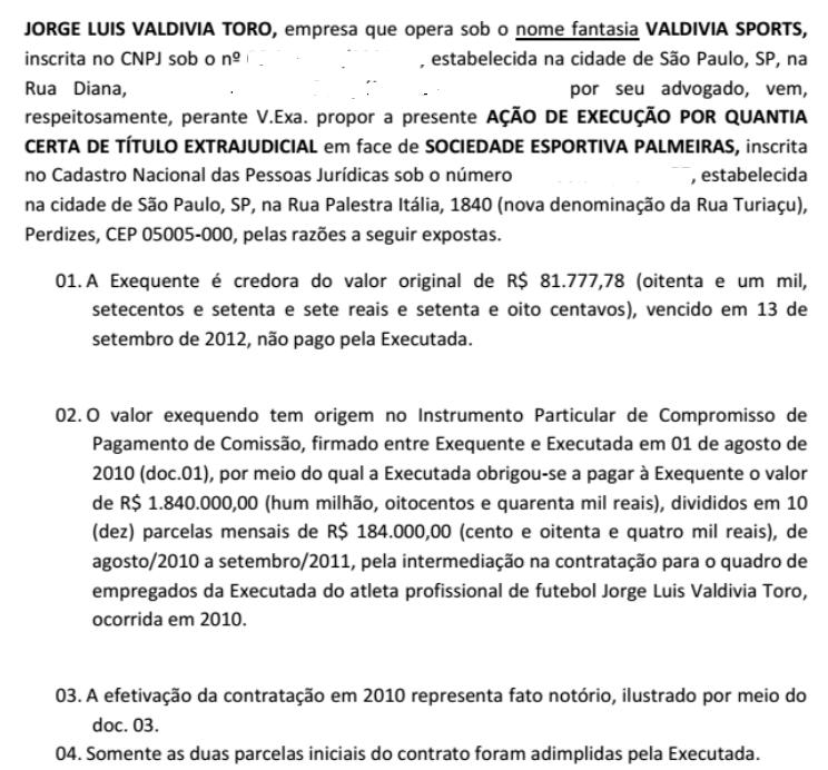 Trecho da ação proposta pela empresa de Valdivia