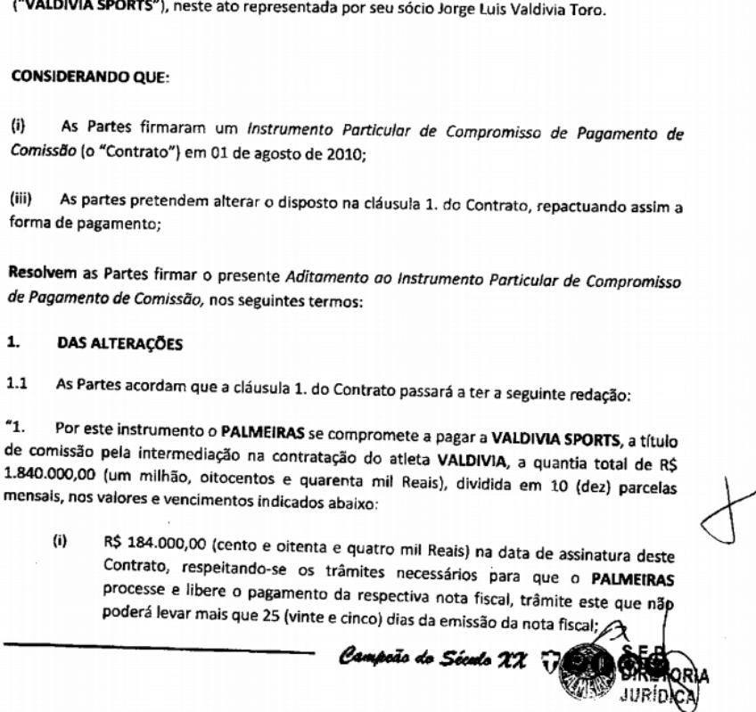 Trecho de mudança feita em contrato para que o Palmeiras quitasse dívida