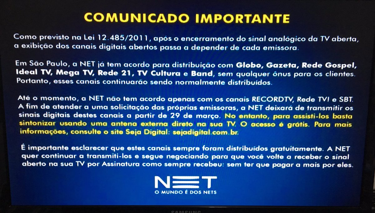 Em novo aviso, Net ensina como ver Record, SBT e RedeTV! fora da Net