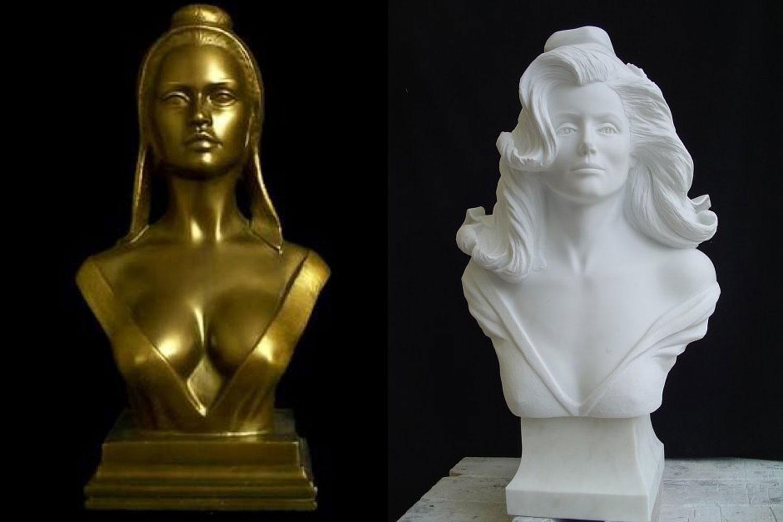 Busto da República inspirado em Brigitte Bardot (à esquerda) e Catherine Deneuve