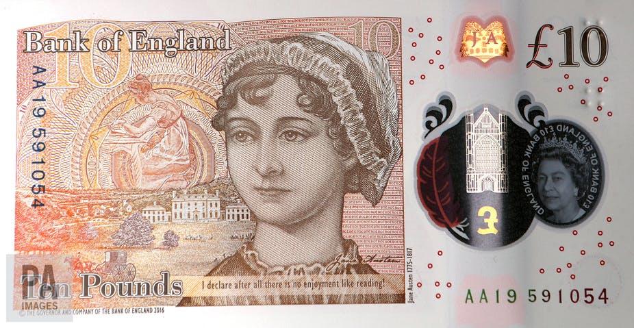 Reverso com a imagem da escritora Jane Austen