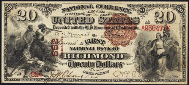 Cédula de 20 dólares com a índia Pocachontas