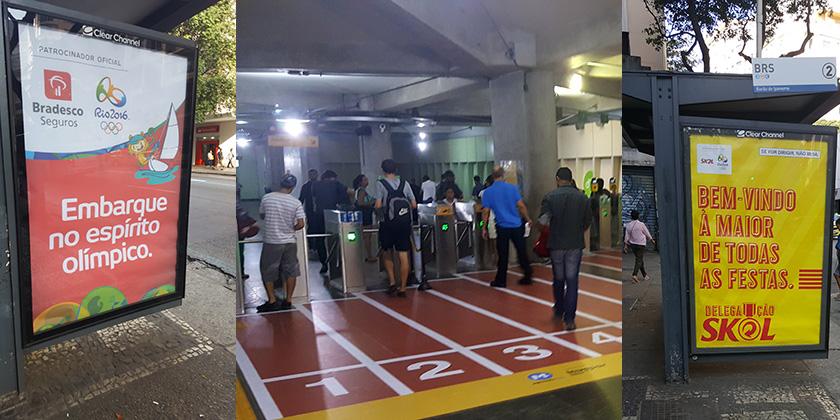 Publicidade nos pontos de ônibus e até pista de atletismo no metrô dão o clima olímpico ao Rio