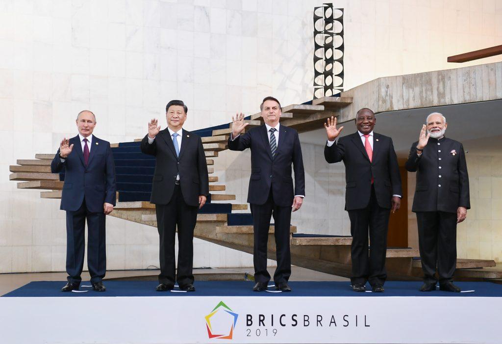 Imagem mostrando os presidentes dos cinco países que compõe o BRICS