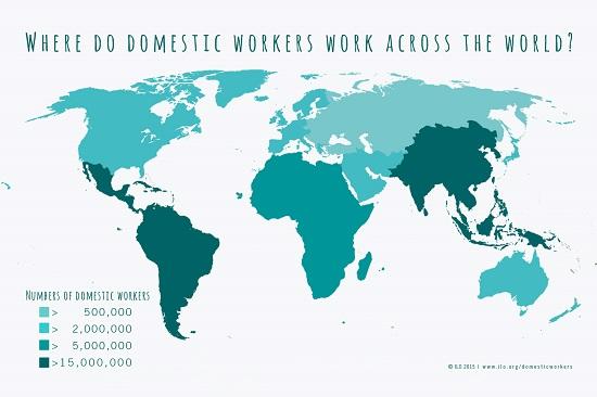 Mapa mostrando a escala do uso de trabalho doméstico nos países. O Brasil daí na frente, como um dos países que mais usa trabalho doméstico no mundo