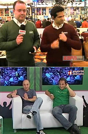 Acima, Everaldo Marques (e) e Paulo Antunes, da ESPN; abaixo, André Henning e Vitor Sergio, do Esporte Interativo