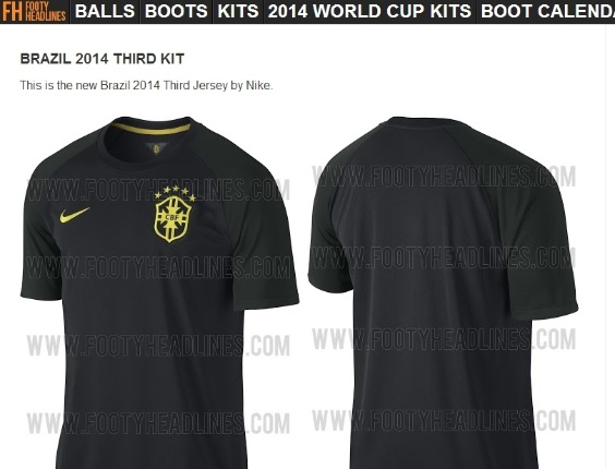 Vaza suposta 3ª camisa da seleção na cor preta  Nike não confirma ... b064cbb6ea969