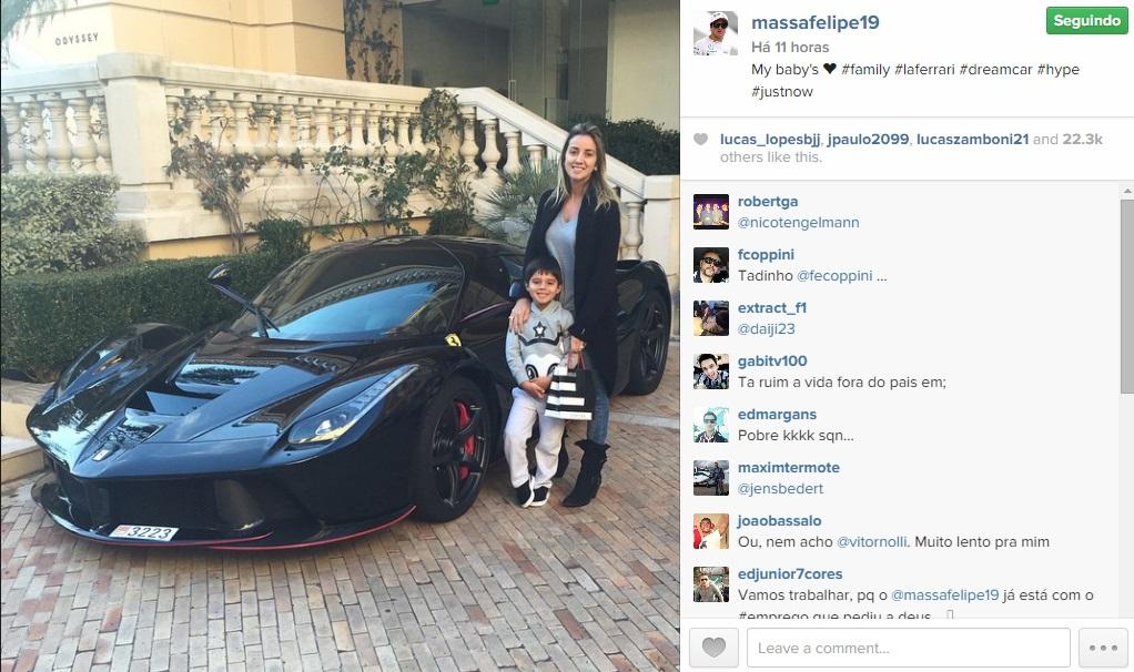 Equipe nova, carro velho. Massa ostenta sua Ferrari de R ... Felipe Massa Instagram