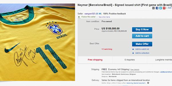 Um usuário belga do site de compras e vendas eBay está pedindo nada menos  do que US  100 mil (R  340 mil) pela camisa utilizada por Neymar em seu  primeiro ... a4f4d687509db