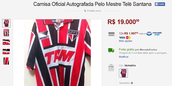 O proprietário desta camisa do São Paulo autografada por Telê Santana  colocou a peça à venda no Mercado Livre por R  19 mil. facf0c90d0597