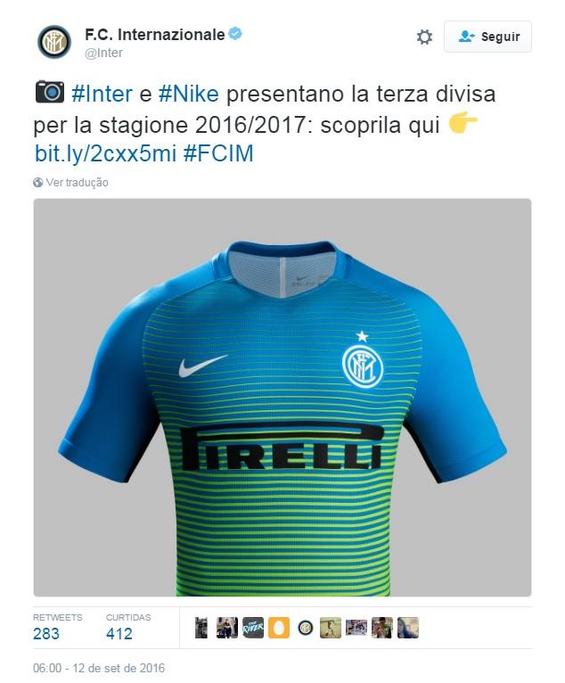 5015bd62f3 Inter de Milão lança terceira camisa com duas cores - 20 09 2012 ...