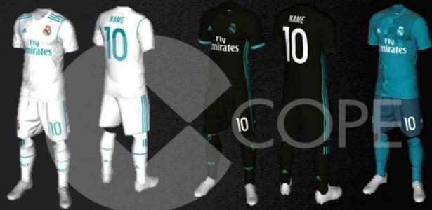 ab37b5603f A Imprensa espanhola exibiu o que seria os novos uniformes do Real Madrid  para a temporada europeia (segundo semestre). A rede de rádio Cadena Cope  ...