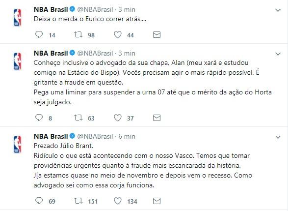 Twitter da NBA no Brasil posta sobre eleições do Vasco e se desculpa depois d19b124eb351e