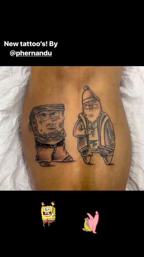 Gabigol exibe novas tatuagens de personagens de desenho